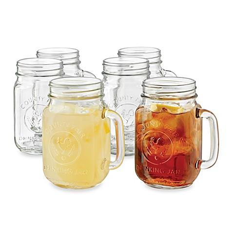 Libbey® Country Folk 16 1/2-Ounce Mason Drinking Jars (Set of 6) - BedBathandBeyond.com