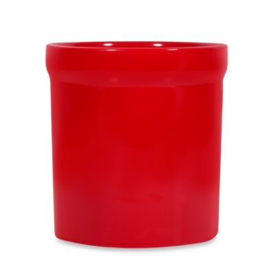 Large Utensil Crock in Red