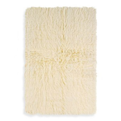 Linon Home Flokati Rug in Natural