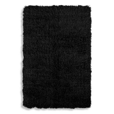 Linon Home Flokati Rug in Black