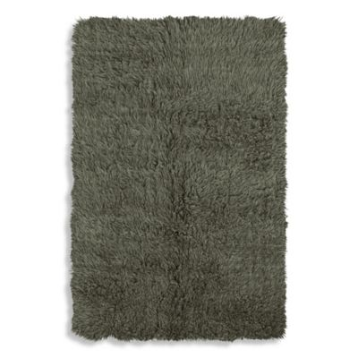 Linon Home Flokati Area Rug in Olive