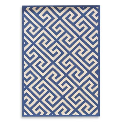 Linon Home Greek Key 1-Foot 10-Inch x 2-Foot 10-Inch Rug in Navy/White