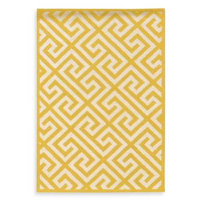 Linon Home Greek Key 1-Foot 10-Inch x 2-Foot 10-Inch Rug in Yellow/White