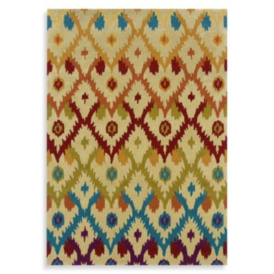 Linon Home Trio Collection 5-Foot x 7-Foot Ikat Rug in Ivory
