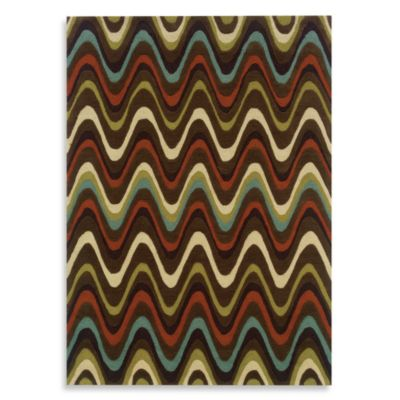 Linon Home Trio Collection 5-Foot x 7-Foot Mouzi Rug in Brown