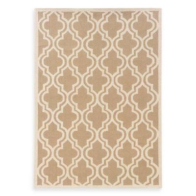 Linon Home Silhouette Collection 2-Foot x 3-Foot Quatrefoil Rug in Beige/White