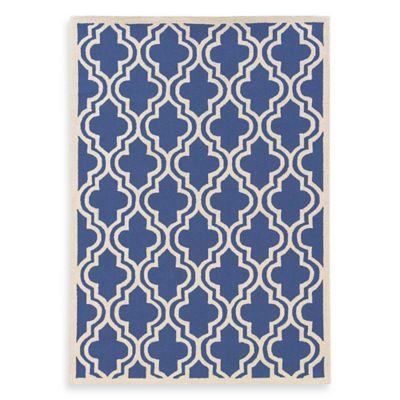 Linon Home Silhouette Collection 2-Foot x 3-Foot Quatrefoil Rug in Navy/White