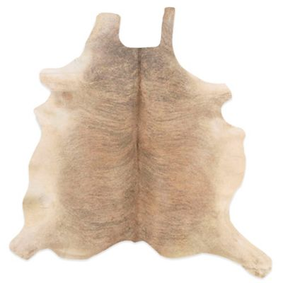 Linon Home Natural Cowhide 5-Foot x 8-Foot Rug in Beige/White
