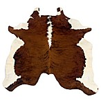 Linon Home Natural Cowhide 5-Foot x 8-Foot Indoor Rug in Brown/White