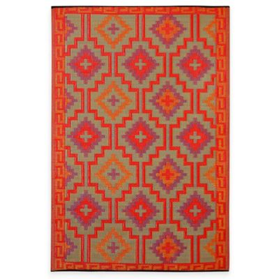 Fab Habitat Lhasa 3-Foot 11-Inch x 5-Foot 10-InchIndoor/Outdoor Rug in Orange with Violet