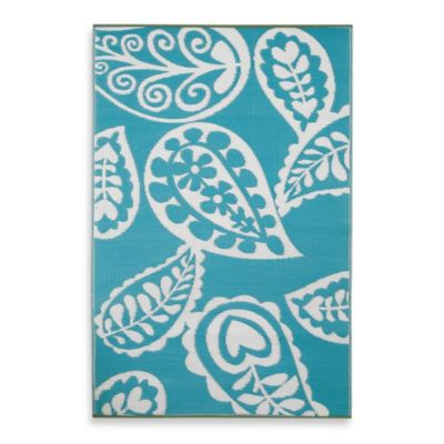 Fab Habitat Paisley 3-Foot 11-Inch x 5-Foot 10-Inch Indoor/Outdoor Rug in River Blue with White