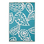 Fab Habitat Paisley Indoor/Outdoor Rug in River Blue with White