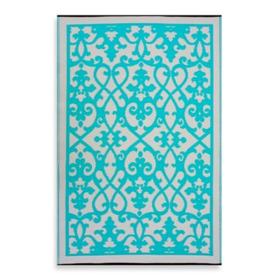 Fab Habitat Venice 5-Foot 11-Inch x 8-Foot 10-Inch Indoor/Outdoor Rug in Turquoise