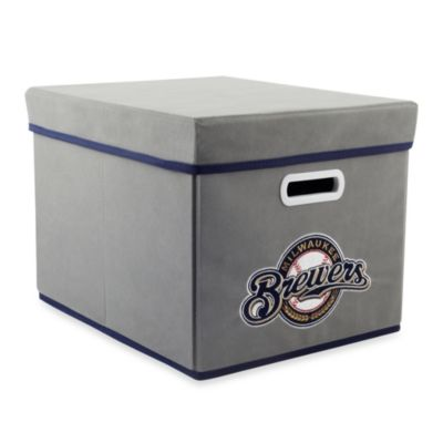 MLB Milwaukee Brewers Fabric Storage Cube with Cover