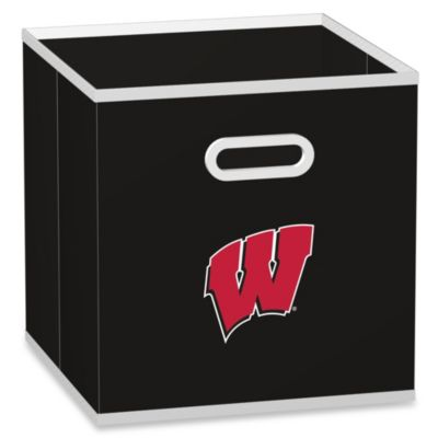 NCAA University of Wisconsin Fabric Storage Drawer in Black