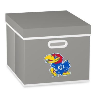 NCAA University of Kansas Storage Cube with Cover in Grey