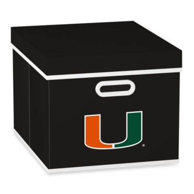 NCAA University of Miami Storage Cube with Cover in Black