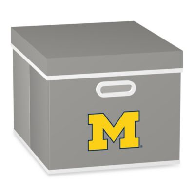 NCAA University of Michigan Storage Cube with Cover in Grey