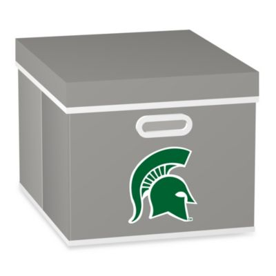 NCAA Michigan State University Storage Cube with Cover in Grey