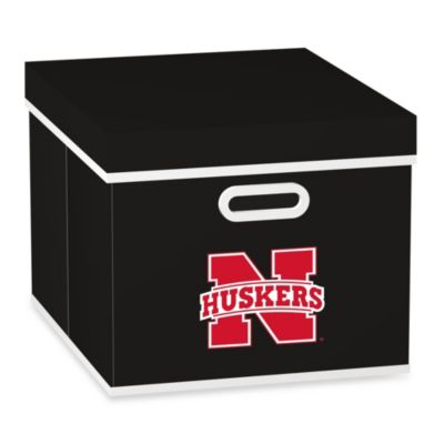 NCAA University of Nebraska Storage Cube with Cover in Black