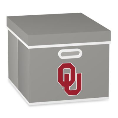 NCAA University of Oklahoma Storage Cube with Cover in Grey
