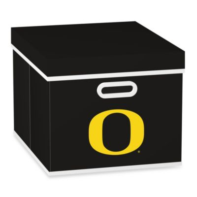 NCAA University of Oregon Storage Cube with Cover in Black