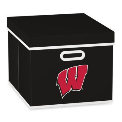 NCAA University of Wisconsin Storage Cube with Cover in Black