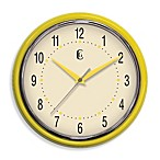Retro Plastic Diner Clock in Yellow