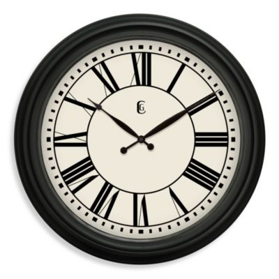 Geneva Classic Black Clock with Roman Numerals
