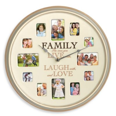 "Ceramic Family ""Live, Laugh, Love"" Photo Frame Clock"