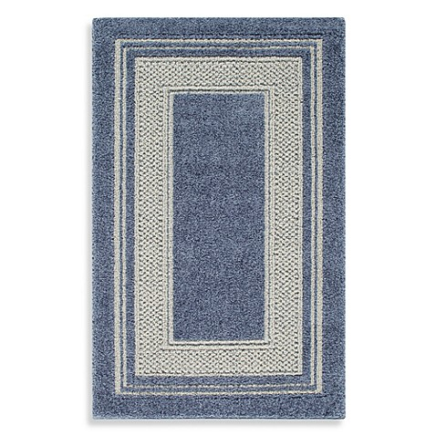 Double Border 2-Foot 6-Inch x 3-Foot 10-Inch Rug in Slate Blue