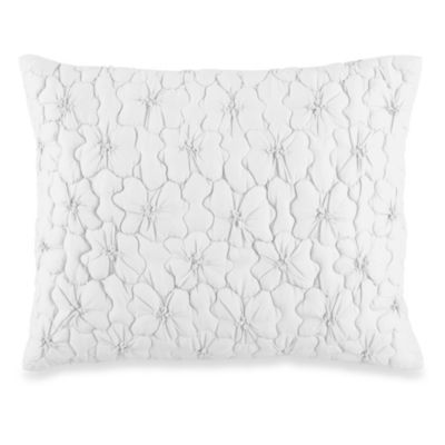 DKNY Ruffle Wave Petite Fleur Oblong Toss Pillow in White