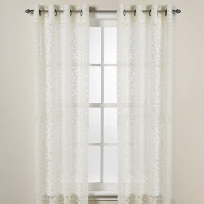 Donna Karan Home Halo Grommet Sheer Window Curtain Panels in Ivory