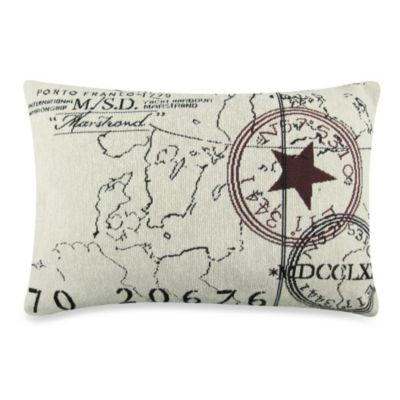 Vintage House World Tapestry Oblong Decorative Pillow in Natural/Black