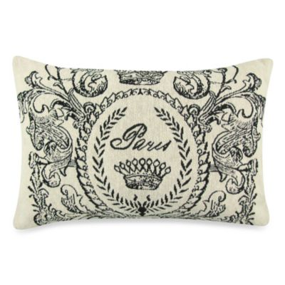 Vintage House Paris Postage 9-Inch x 13-Inch Decorative Pillow in Natural/Black