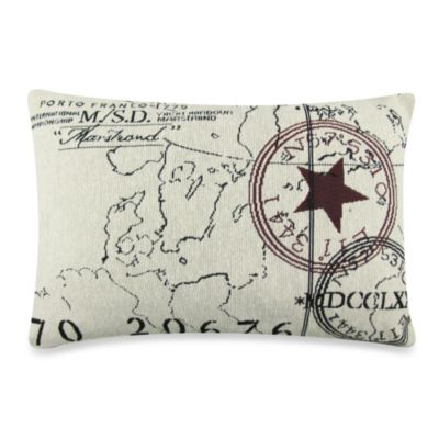 Vintage House World Tapestry 12-Inch x 18-Inch Decorative Pillow in Natural/Black