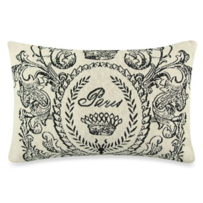Vintage House Paris Postage 12-Inch x 18-Inch Decorative Pillow in Natural/Black