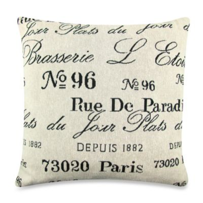 Vintage House Brasserie 18-Inch Square Decorative Pillow in Natural/Black