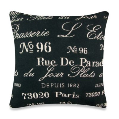 Vintage House Brasserie 18-Inch Square Decorative Pillow in Black/Natural