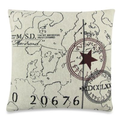 Vintage House World Tapestry 18-Inch Square Decorative Pillow in Natural/Black