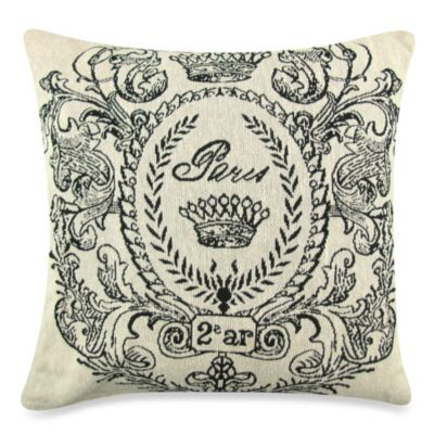 Vintage House Paris Postage 18-Inch x 18-Inch Decorative Pillow in Natural/Black