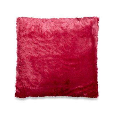 Bright Faux-Fur Toss Pillow in Pink