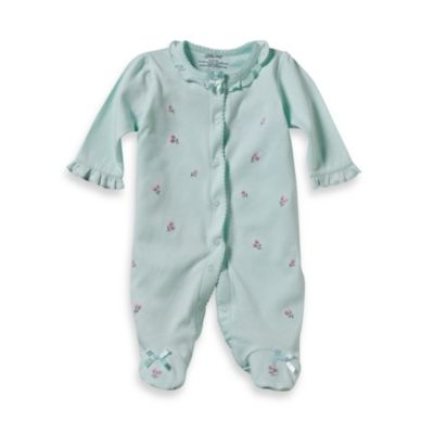 Little Me Aqua Rosebud Footie