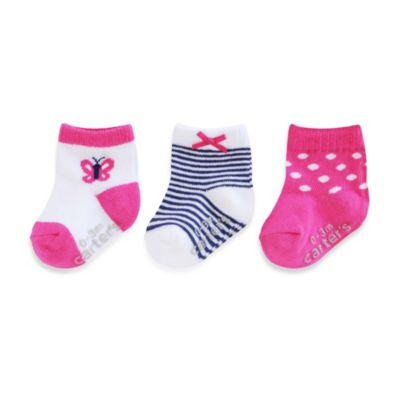 Carter's® 3-Pack Socks in Pink Butterfly