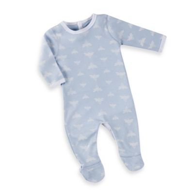 Burt's Bees Baby™ Organic Cotton Cloud Bee Snap Bottom Footie in Blue
