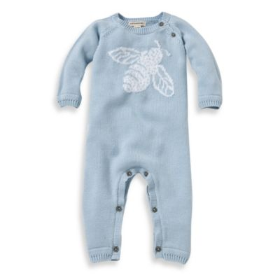 Burt's Bees Baby™ Jacquard Bee Sweater Coverall in Blue