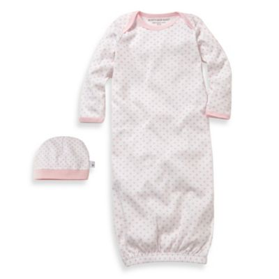Burt's Bees Baby™ Dottie Bee Gown & Cap Set in Pink