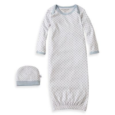 Burt's Bees Baby™ Organic Cotton Dottie Bee Gown & Cap Set in Blue