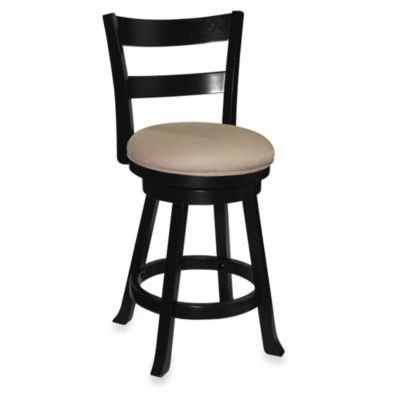 Sawyer 24-Inch Swivel Wood Barstool in Black
