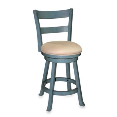 Sawyer 30-Inch Swivel Wood Barstool in Blue